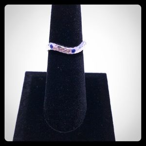 Wavy Hammered Blue Spinel 925 Sterling Silver Ring